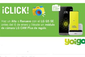 Última oportunidad para llevarte un módulo Cam Plus con tu LG G5 SE Titán en Yoigo
