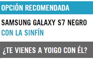 En Yoigo el Samsung Galaxy S7 está a 12 euros el mes si te lo llevas con la Sinfín de 25 GB