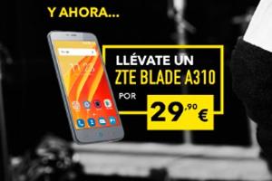Más Móvil ofrece un ZTE Blade A310 a precio rebajado al contatar una tarifa Fibra+Móvil