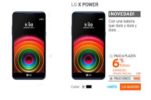 De novedad en Simyo: LG X Power a sólo 6,5 euros por mes