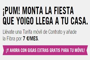 Contrata un servicio móvil Yoigo y llévate fibrapara tu hogar por sólo 7 euros más al mes (más cuota de línea)