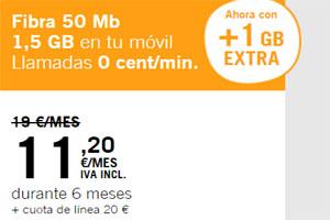 La combinada naranja 50 de Yoigote regala 1 Gb extra para tu disfrutar en tu móvil