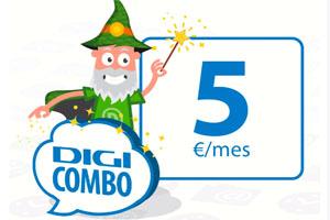 Con el Digi Combo 5 de Digimobil ten todos los servicios que necesitas por 5 euros al mes