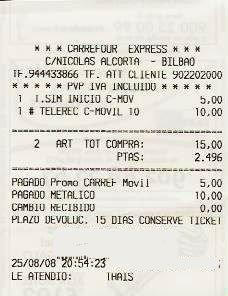 Imagen del ticket de compra de tarjeta Carrefour Móvil