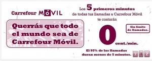 Promoción Carrefour móvil 5 primeros minutos entre móviles Carrefour Móvil