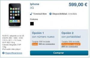 Foto del iPhone en la tienda de Simyo, sacada de iphoneapps.es