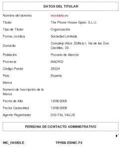 Whois de movidata.es
