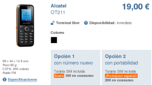 Móvil Alcatel OT211 libre con Simyo