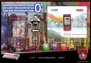 Imagen de la promoción del Sony Ericsson w760 con Yoigo
