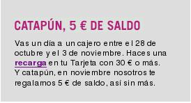 Anuncio de Yoigo de la promoción de recarga gratis de 5 euros