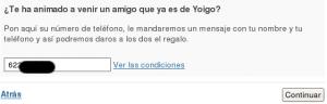 Imagen parcial del formulario de Yoigo para la promoción