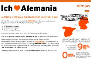 Captura promoción Simyo llamar barato entre España y Alemania