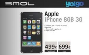 Vía http://yoiggers.es/2008/11/iphone-3g-8gb-libre-con-yoigo-en-smol/