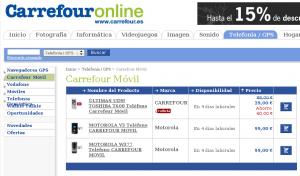Carrefour Online, sección Carrefour Móvil
