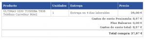 Precio de envíos de Carrefour Online para móviles