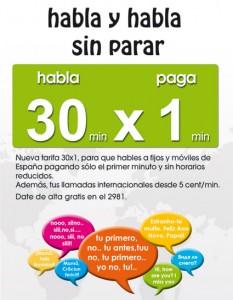 Imagen de la tarifa 30x1 de Happy Móvil