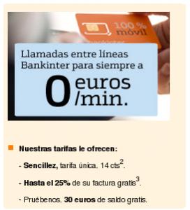 Llamadas entre líneas Bankinter a 0 céntimos/minuto