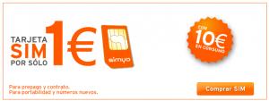 Imagen de la promoción de Simyo a 1 euro