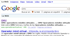 Búsqueda de OMV en Google