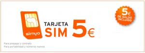 Hazte de Simyo por 5 euros con 5 euros de saldo