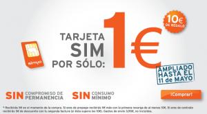Promoción Simyo por 1 euro, más gastos de envío