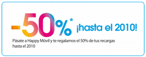 50% en recargas gratis con Happy Móvil