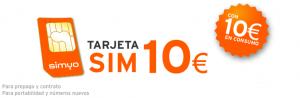 10 euros de tarjeta SIM de Simyo