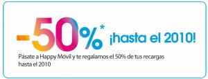 Happy Movil 50% descuento