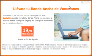 Promoción banda ancha de Euskaltel