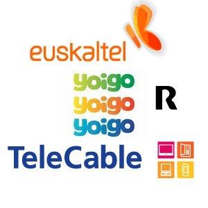 Logos de Euskaltel, Yoigo, Telecable y R