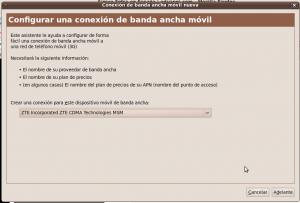 Primera pantalla conexión banda ancha con los OMV y Yoigo en Ubuntu