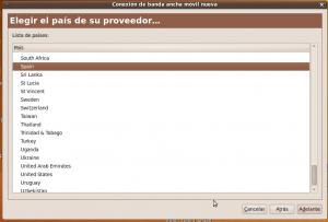 Elegir país en Ubuntu para el internet móvil
