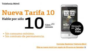 Imagen promocional de la tarifa 10 de Bankinter móvil