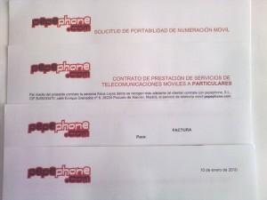 Solicitud de portabilidad, contrato y carta de Pepephone
