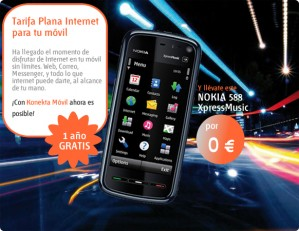 Promoción Konekta móvil y Nokia 5800 Euskaltel