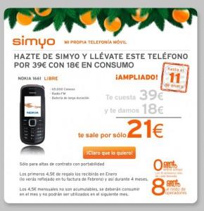 Imagen promoción Nokia 1661 con Simyo