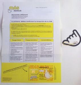 Tarjeta SIM de MÁSmovil y carta de bienvenida