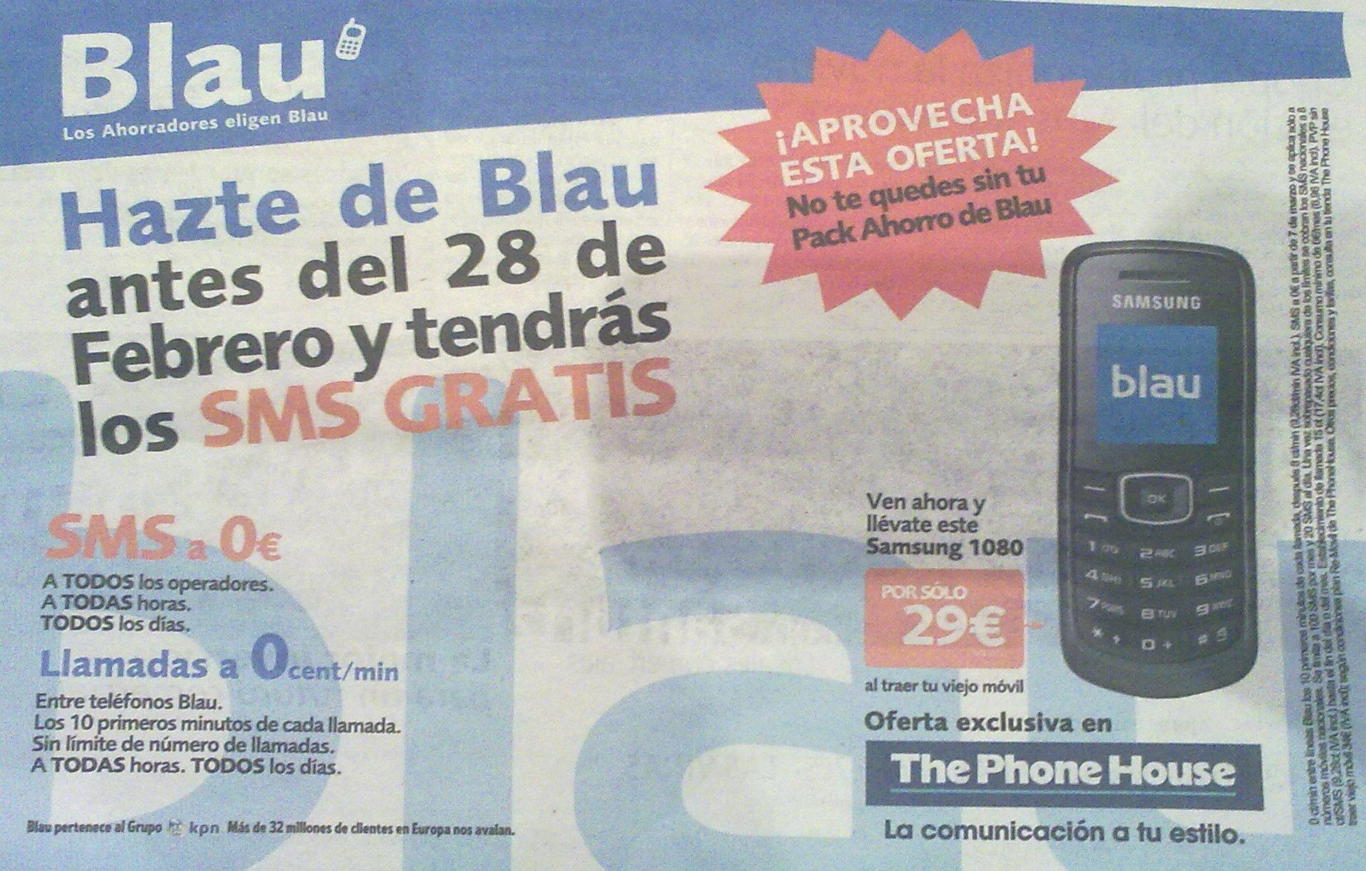 48b4fe999 Promoción de SMS gratis de Blau