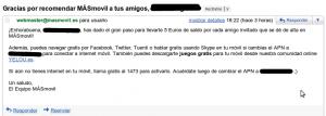 Email de MÁSmovil con el APN a establecer