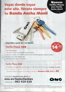 ONO tarifa de Internet Móvil de 1 GB