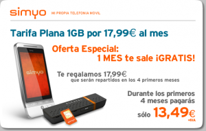 Simyo 1 GB de internet móvil